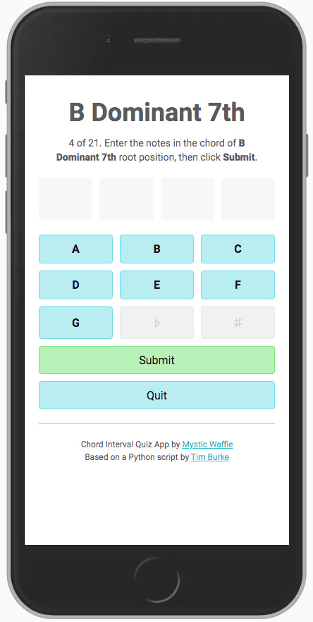 Chord Interval Quiz App on the phone