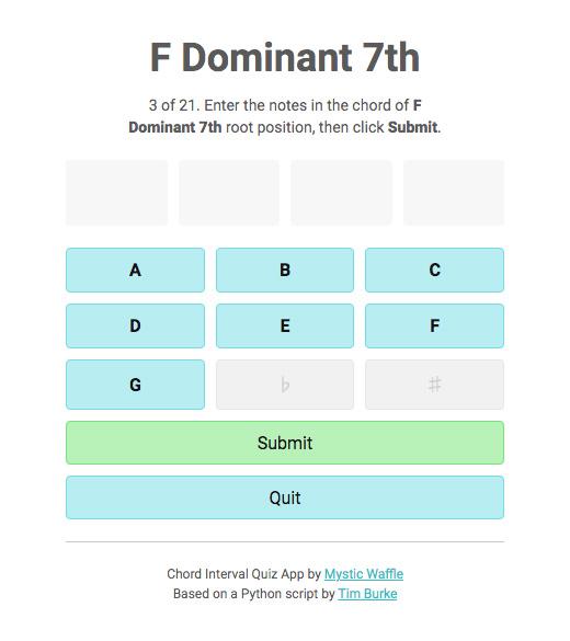 Chord interval quiz question