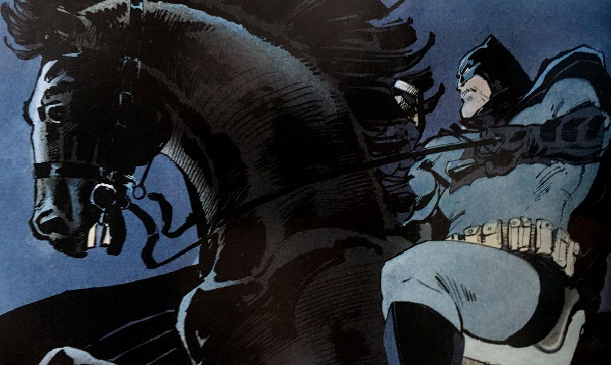 Batman riding a black mare