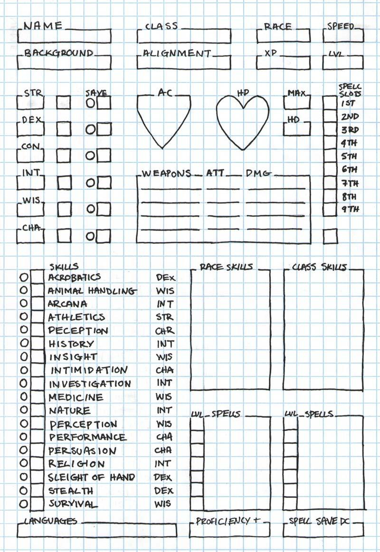 5e Spell Caster Character Sheet