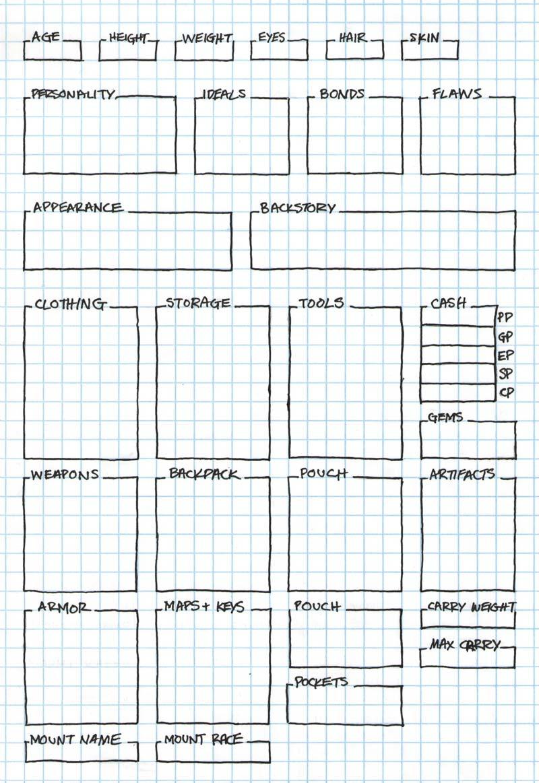 5e Equipment & Background Character Sheet