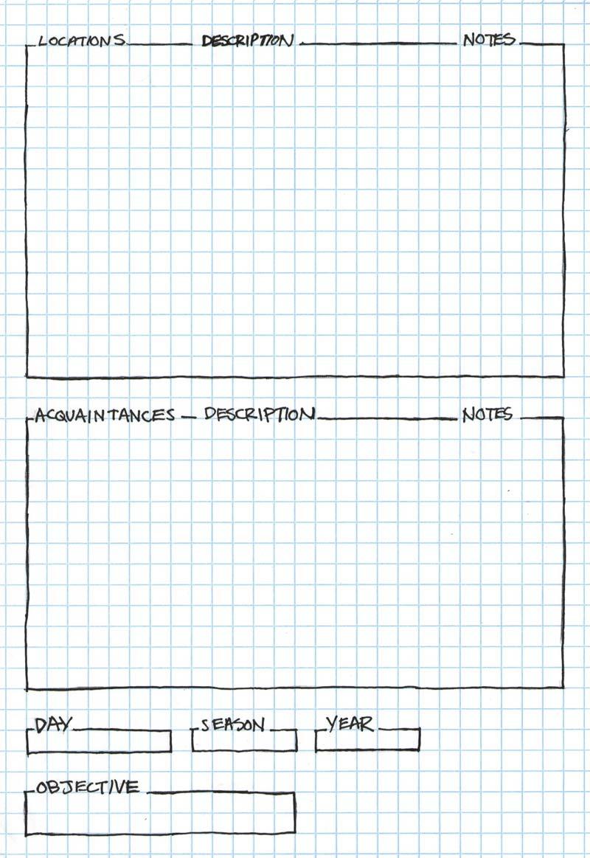 5e Adventure Notes Character Sheet