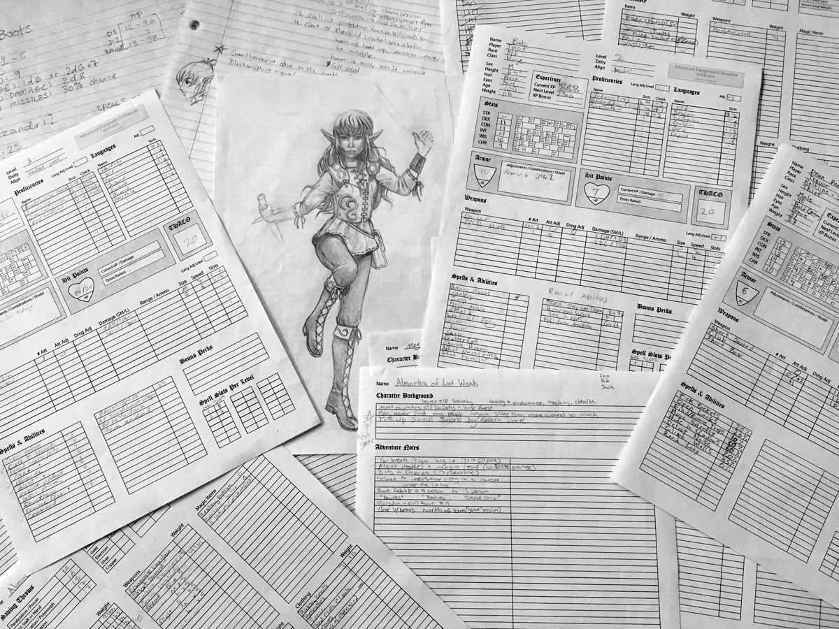 AD&D Player Character Sheets