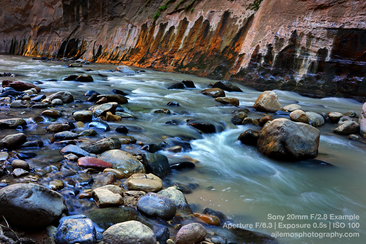 Zion Canyon Flowing Water by AJ Lemos